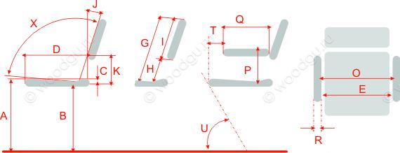 Размеры кресла, разработанные мебельным институтом Швеции